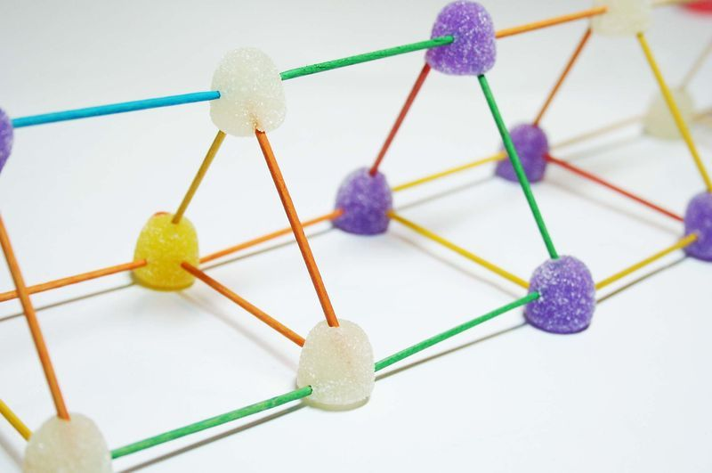 Structures built with candy