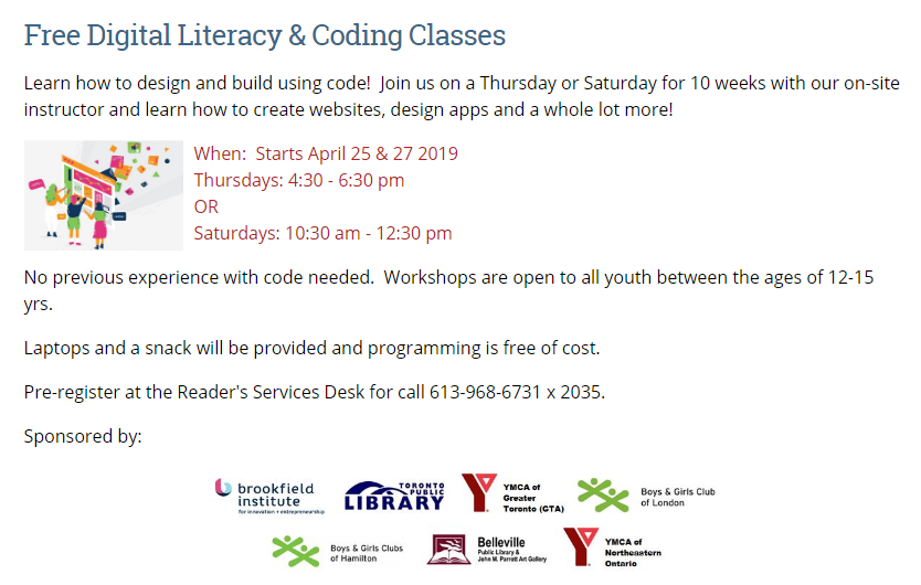 Digital Literacy & Coding Classes