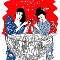 """Two Women with Cityscape in Bowl"" print by Taikun Kamabashi"