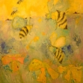 """Apis Mellifera Manifesto oil/cold wax painting by Barbara Chappelle"