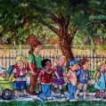 """Children on Queen Street"", mixed media by Claudette Boulanger"